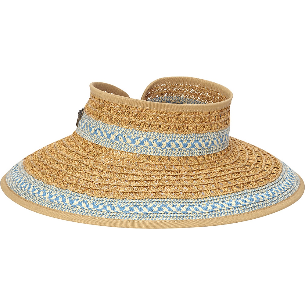 Sun N Sand Paper Braid Visor One Size - Blue - Sun N Sand Hats/Gloves/Scarves - Fashion Accessories, Hats/Gloves/Scarves