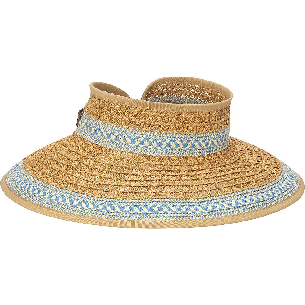Sun N Sand Paper Braid Visor One Size - Blue - Sun N Sand Hats - Fashion Accessories, Hats