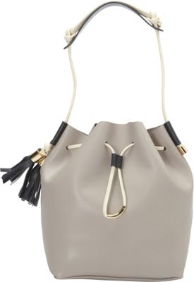 Vince Camuto Lorin Drawstring Driftwood/Ivory/Graphite - Vince Camuto Designer Handbags