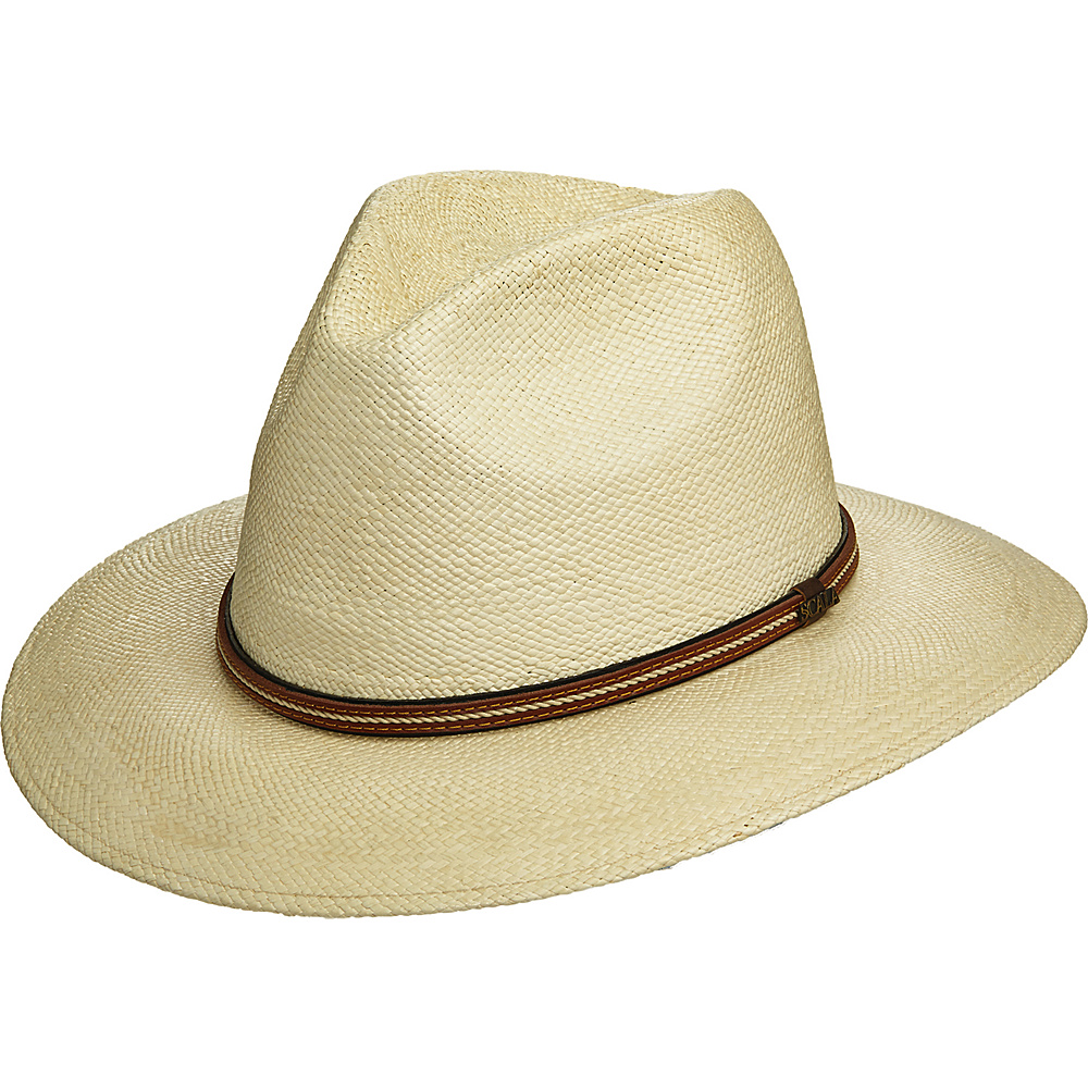 Scala Hats Panama Safari Hat with Leather Band Natural XLarge Scala Hats Hats Gloves Scarves