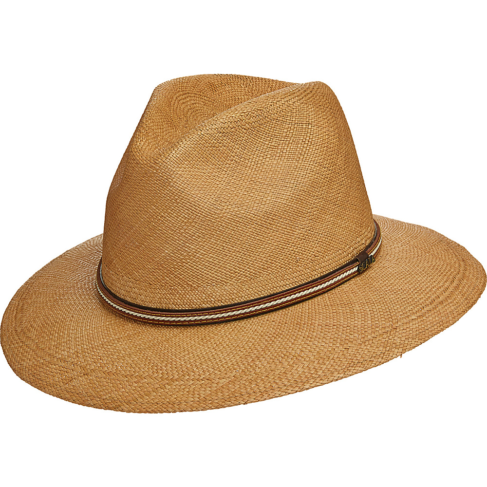 Scala Hats Panama Safari Hat with Leather Band Putty Medium Scala Hats Hats Gloves Scarves