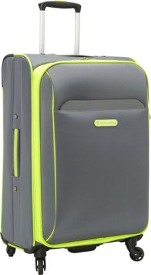 Swiss Cargo TruLite 24 inch Spinner Luggage Grey Green - Swiss Cargo Softside Checked