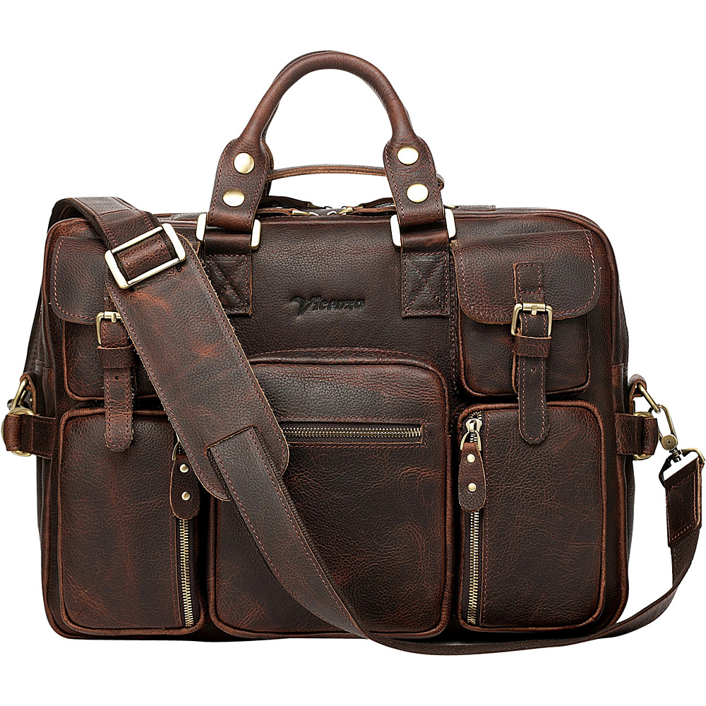 Vicenzo Leather Titan X Full Grain Leather Briefcase Messenger Bag Dark Brown - Vicenzo Leather Non-Wheeled Business Cases