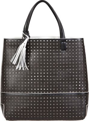 BUCO Large Fiore Tote Black with white - BUCO Leather Handbags