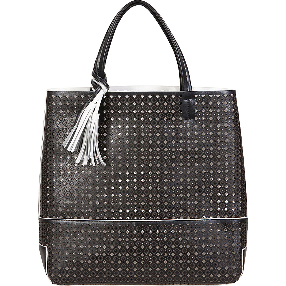 Buco Large Fiore Tote Black With White Leather Han