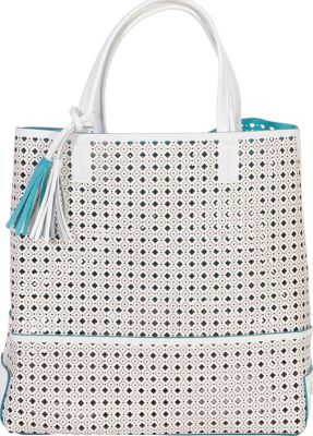 BUCO Large Fiore Tote White with Turquoise - BUCO Leather Handbags