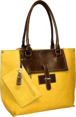 Punto Uno Tailored Tote Mustard - Punto Uno Manmade Handbags