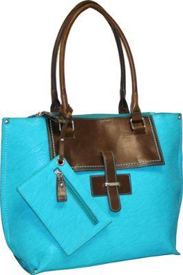 Punto Uno Tailored Tote Turquoise - Punto Uno Manmade Handbags