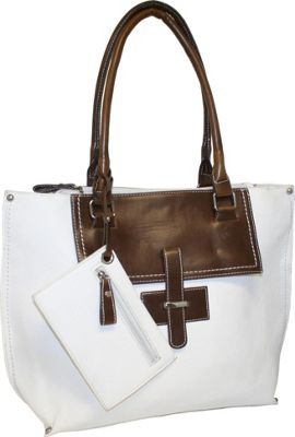 Punto Uno Tailored Tote White - Punto Uno Manmade Handbags