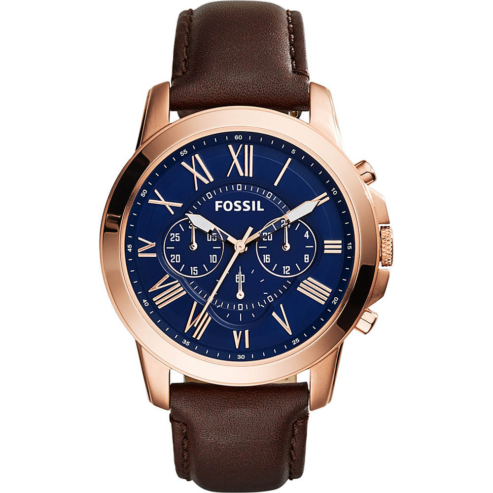 Fossil Grant Chronograph Leather Watch Brown/Rose Gold/Blue - Fossil Watches - Fashion Accessories, Watches