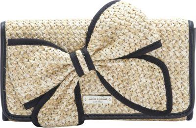 kate spade new york Belle Place Straw Viv Clutch Natural/Black - kate spade new york Designer Handbags