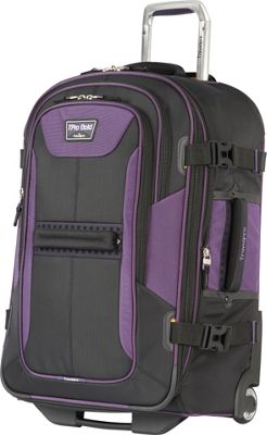 Travelpro T-Pro Bold 2.0 25 inch  Expandable Rollaboard Black & Purple - Travelpro Softside Checked