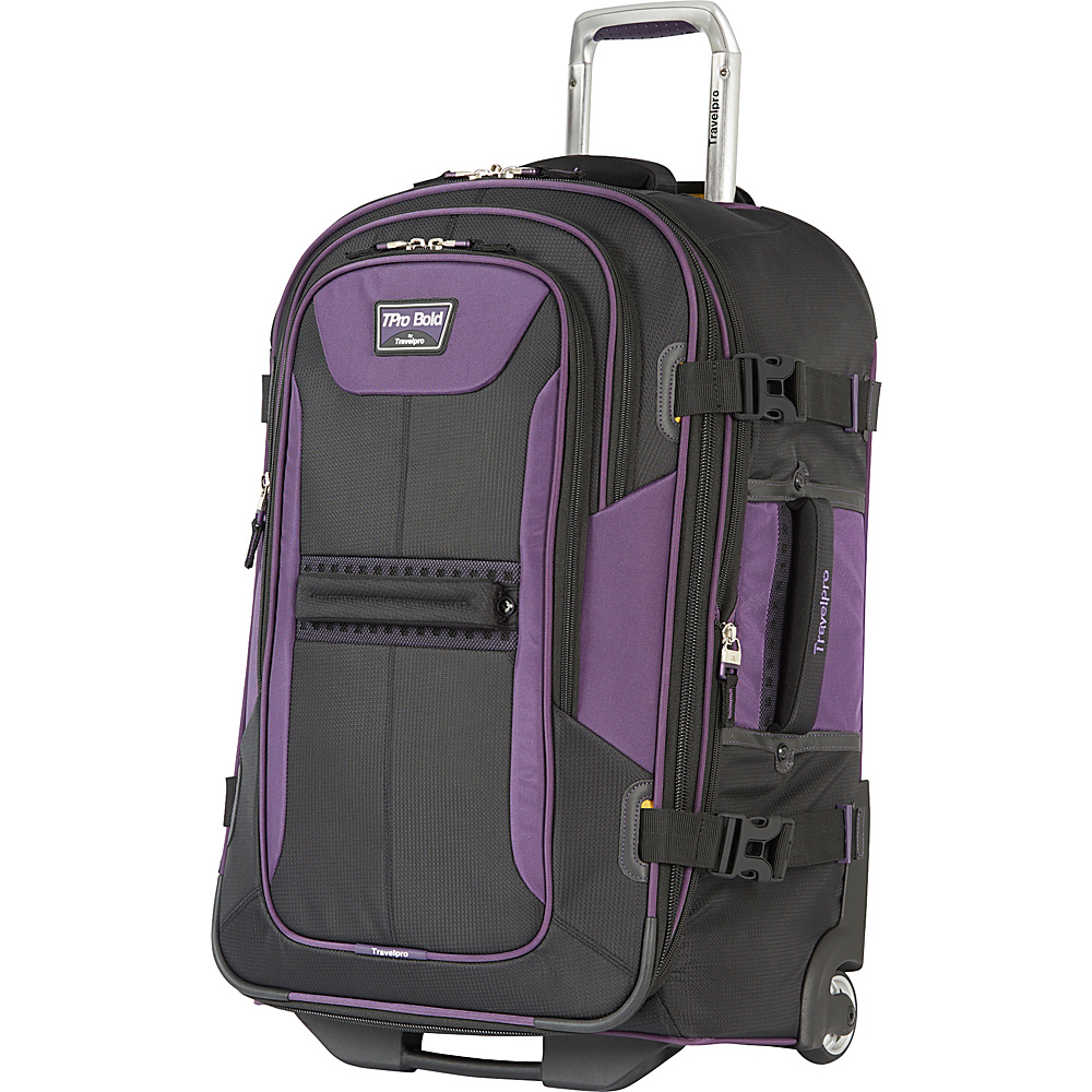 "Travelpro T-Pro Bold 2.0 25"" Expandable Rollaboard Black & Purple - Travelpro Softside Checked"