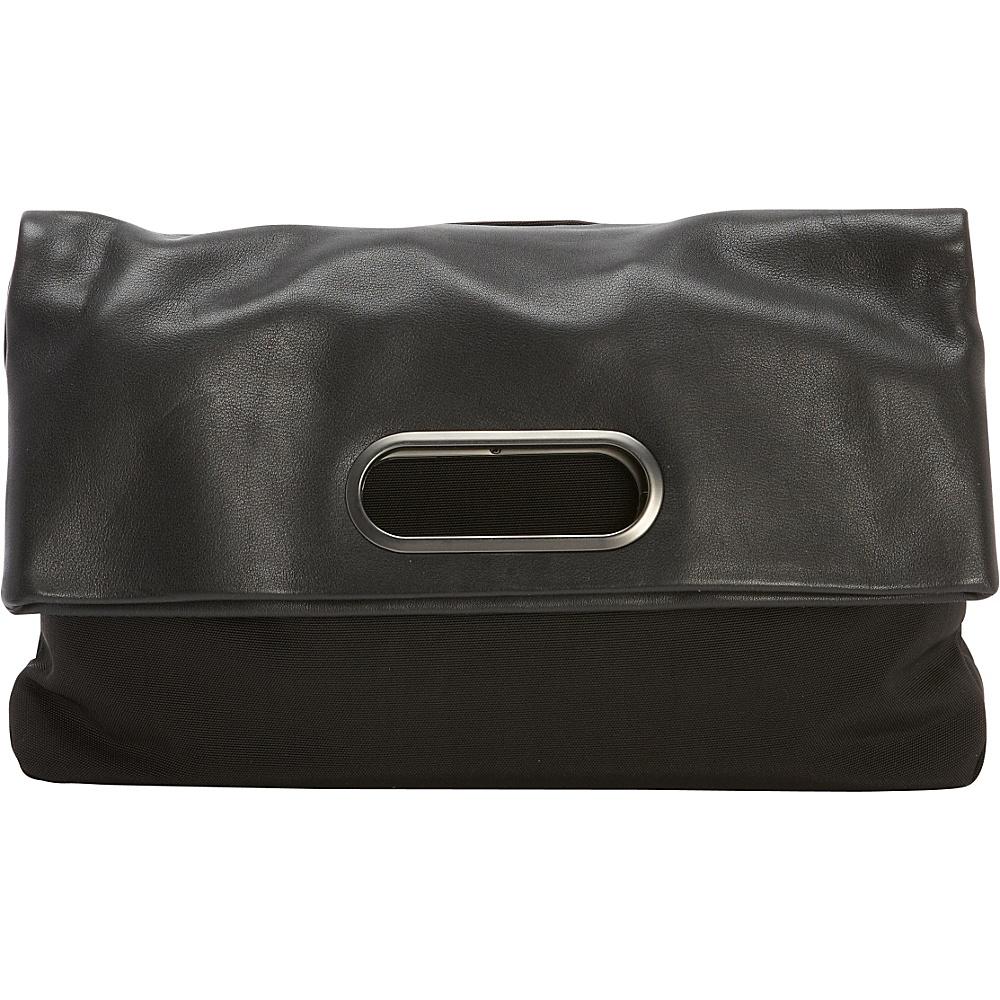 Skagen Ella Nylon Fold-Over Bag Black - Skagen Fabric Handbags