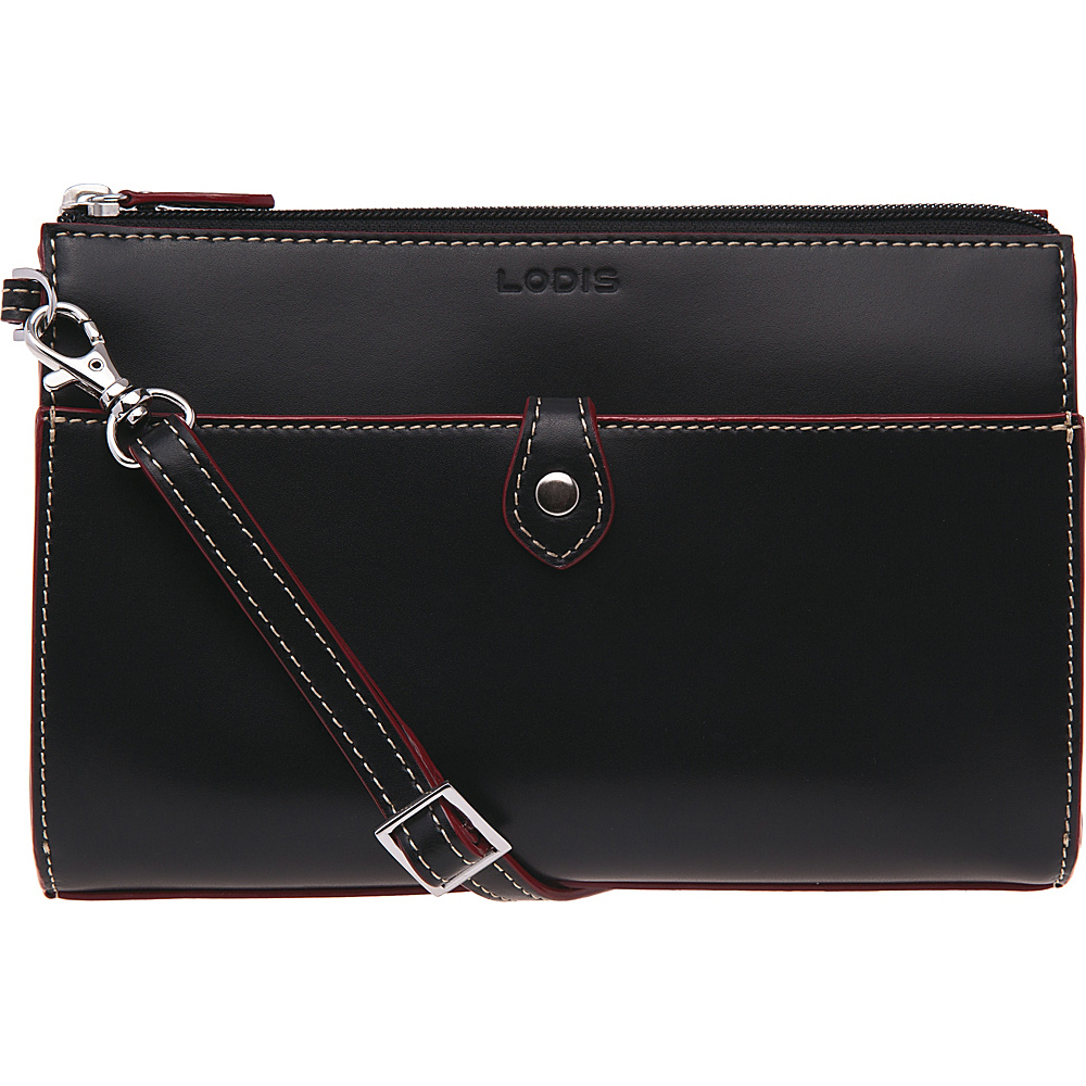 Lodis Audrey Vicky Convertible Crossbody Black Red Lodis Leather Handbags
