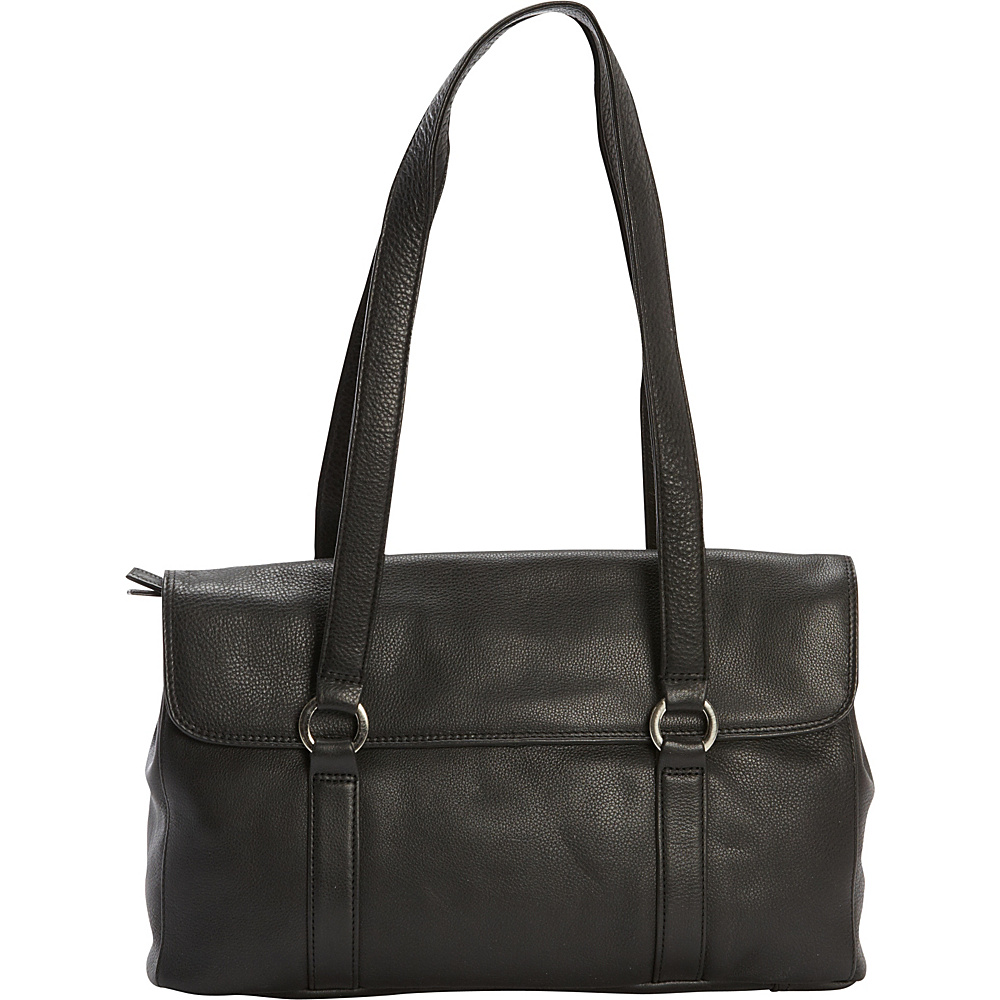 Derek Alexander E/W Two Compartment Twin Shoulder Bag Black - Derek Alexander Leather Handbags - Handbags, Leather Handbags
