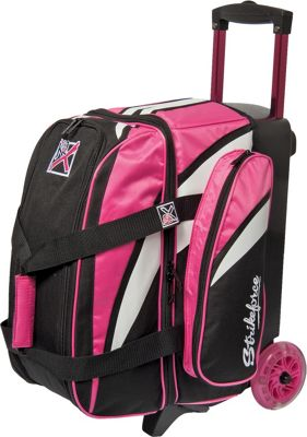 KR Strikeforce Bowling Cruiser Smooth Double Bowling Ball Roller Bag Pink/White/Black - KR Strikeforce Bowling Bowling Bags