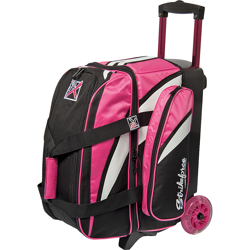 KR Strikeforce Bowling Cruiser Smooth Double Bowling Ball Roller Bag Pink White Black KR Strikeforce Bowling Bowling Bags