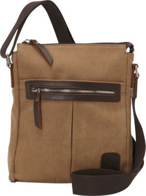 Laurex Canvas Tourist Slim Messenger Bag with Leather Accent Khaki - Laurex Messenger Bags