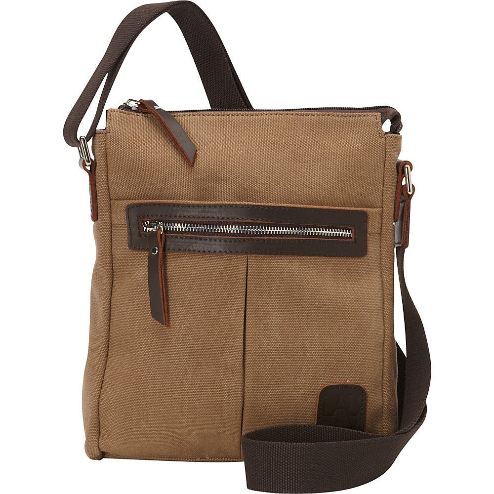 Laurex Canvas Tourist Slim Messenger Bag with Leather Accent Khaki Laurex Messenger Bags