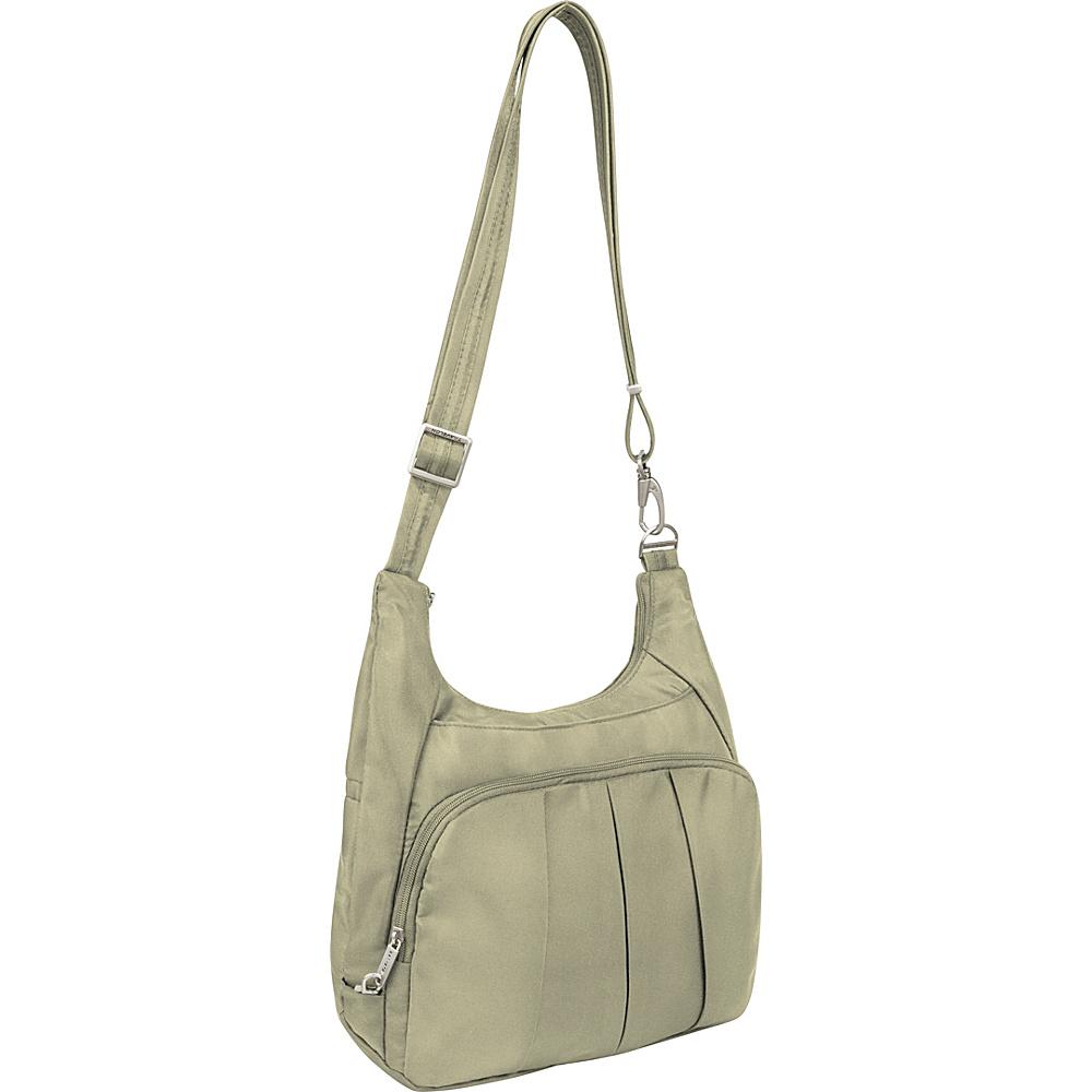 Travelon Anti-Theft Classic Pleated Hobo Stone/Coral - Travelon Fabric Handbags - Handbags, Fabric Handbags