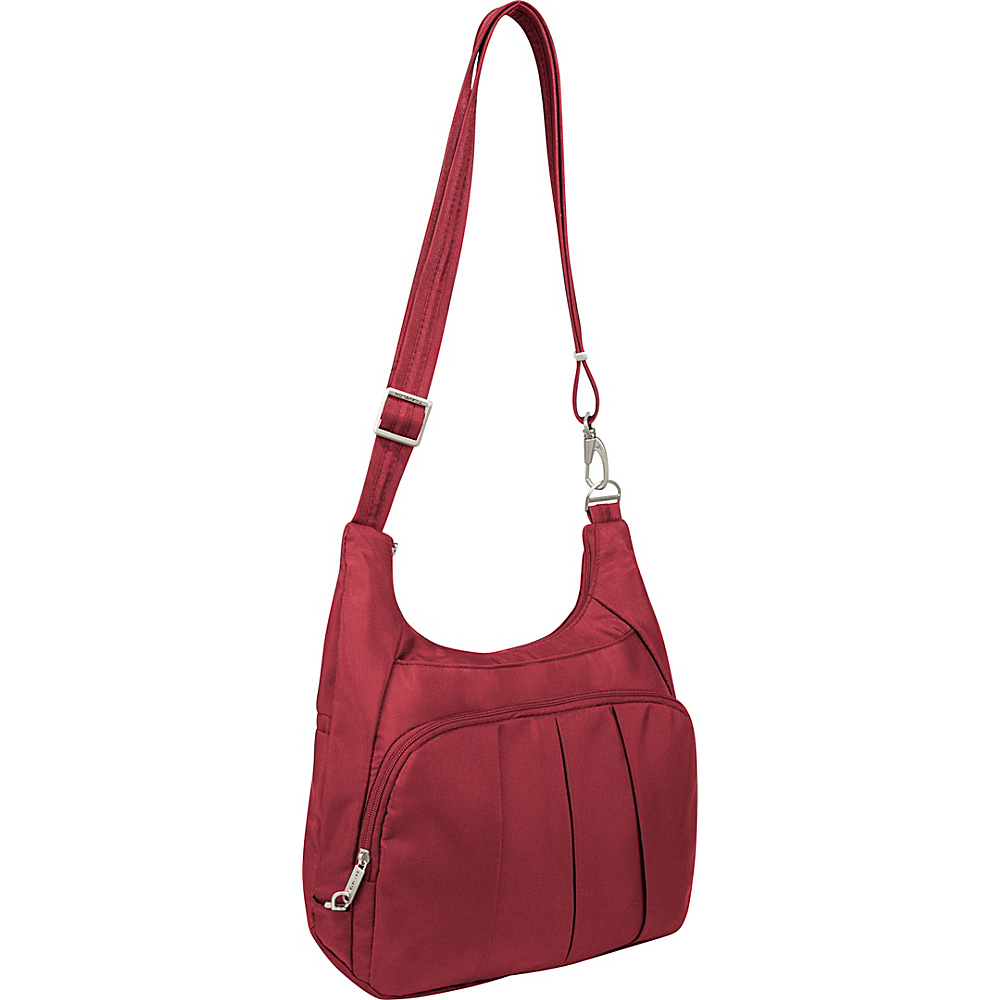Travelon Anti-Theft Classic Pleated Hobo Cranberry/Light Sand - Travelon Fabric Handbags - Handbags, Fabric Handbags