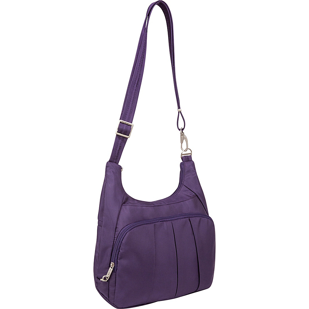 Travelon Anti-Theft Classic Pleated Hobo Purple/Gray - Travelon Fabric Handbags - Handbags, Fabric Handbags