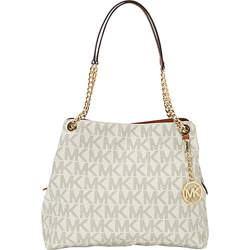 MICHAEL Michael Kors Jet Set Large Chain Monogrammed Shoulder Tote Vanilla - MICHAEL Michael Kors Designer Handbags