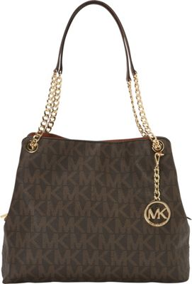 MICHAEL Michael Kors Jet Set Large Chain Monogrammed Shoulder Tote Brown - MICHAEL Michael Kors Designer Handbags