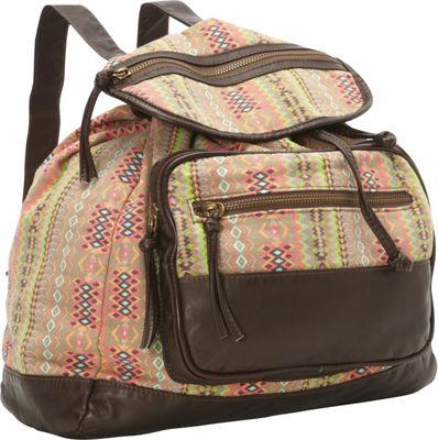 T-shirt & Jeans Aztec Printed Back Pack W/ Front Pocket Multi - T-shirt & Jeans Everyday Backpacks