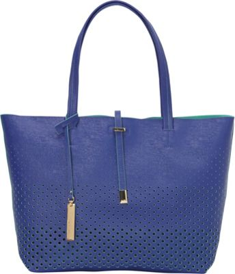 Vince Camuto Leila Tote - Perforated Lapis Blue/G - Vince Camuto Designer Handbags