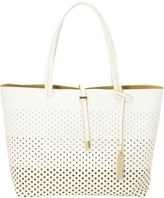 Vince Camuto Leila Tote - Perforated Snow White 2/P - Vince Camuto Designer Handbags