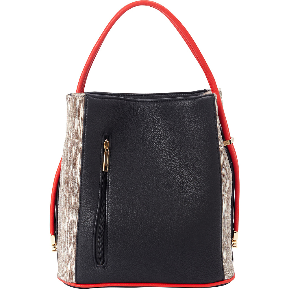 Samoe Classic Convertible Handbag Haircalf Black Mod Zebra Leather Haircalf Red Handle Clas Samoe Manmade Handbags