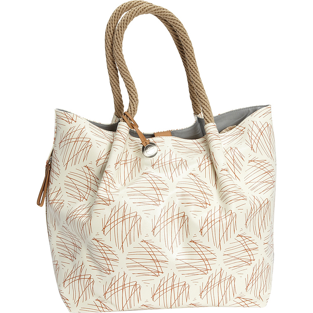 Skagen Sanne Coated Canvas Printed Tote Brown Sugar - Skagen Fabric Handbags