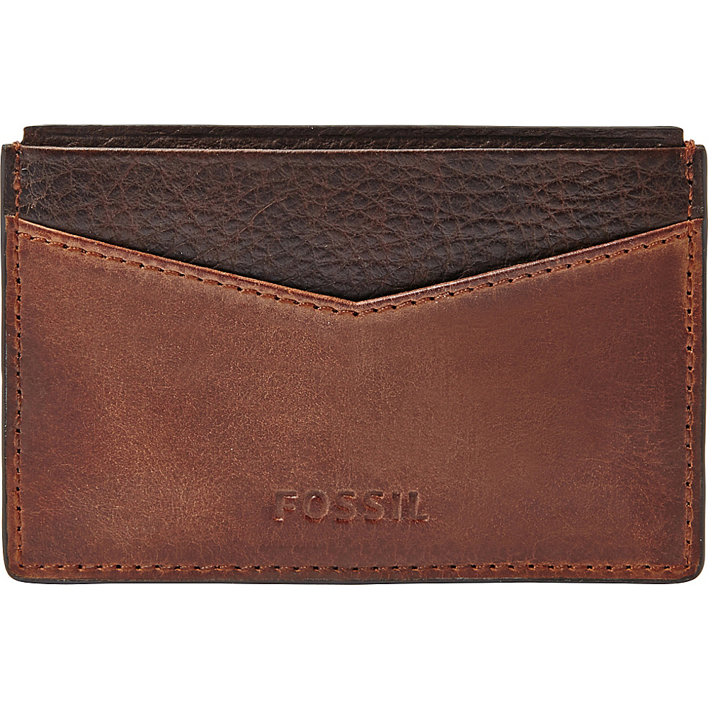 Fossil Quinn Card Case Brown - Fossil Mens Wallets - Work Bags & Briefcases, Men's Wallets