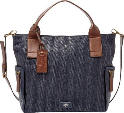 Fossil Emerson Satchel Navy - Fossil Manmade Handbags
