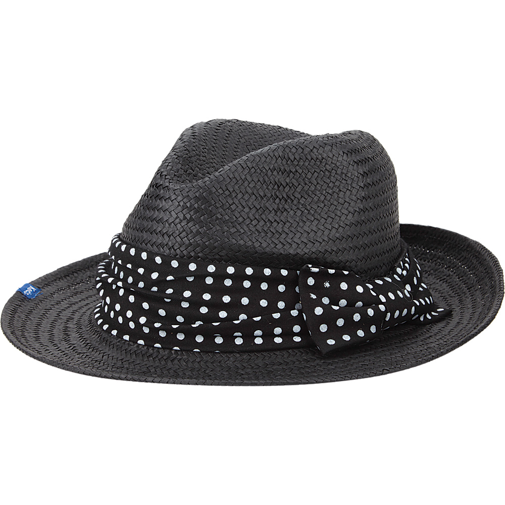 Keds Straw Flat Brim Fedora Black Classic Dot Keds Hats Gloves Scarves