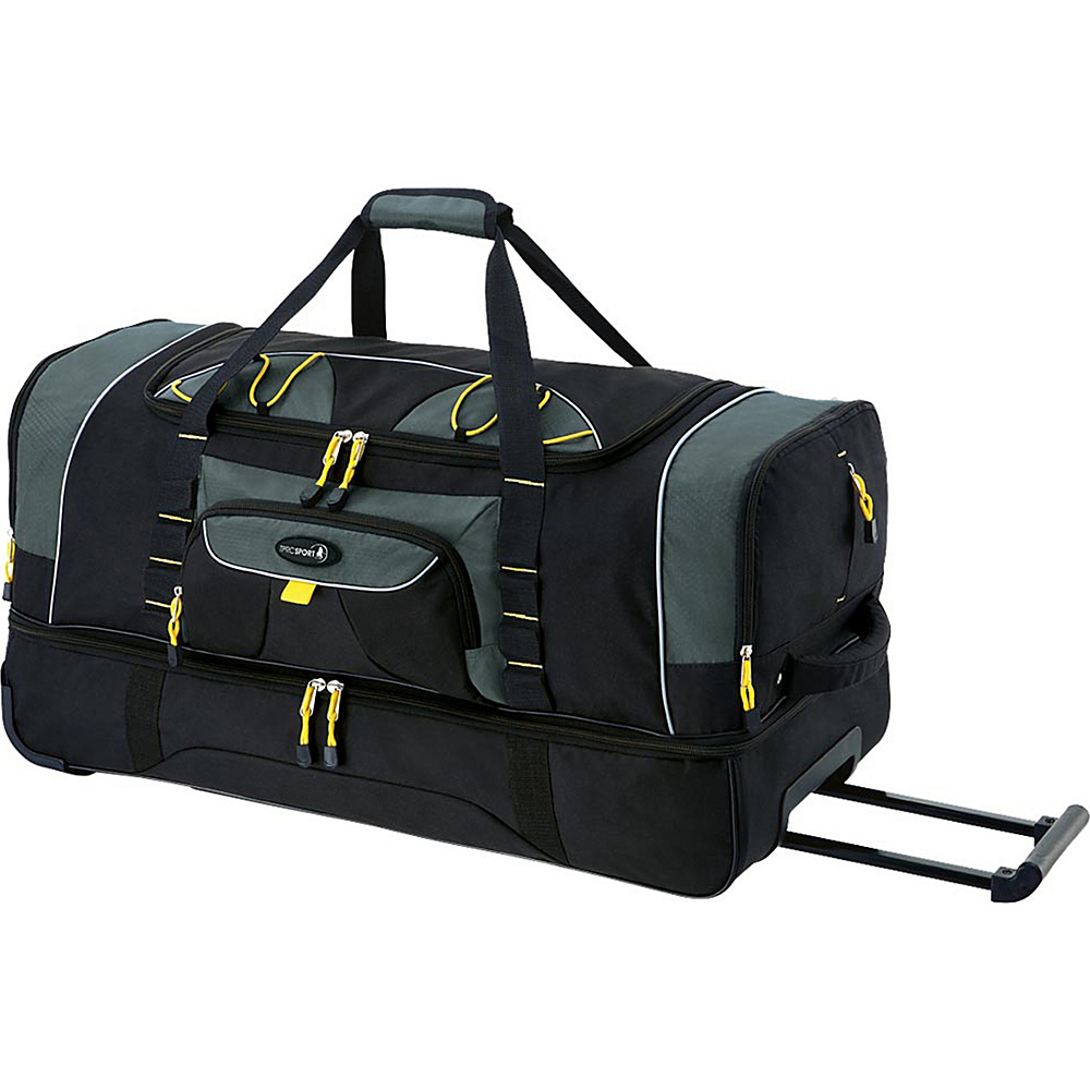 """Travelers Club Luggage Travelers Polo & Racquet Club 36"""" Two-Toned 2-Section Drop Bottom Rolling Duffel Black/Gray - Travelers Club Luggage Rolling Duffels"""