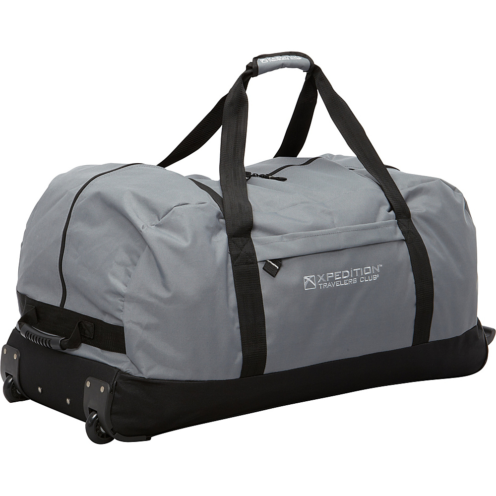 """Travelers Club Luggage Xpedition 36"""" Large Rolling Duffel Gray - Travelers Club Luggage Rolling Duffels"""