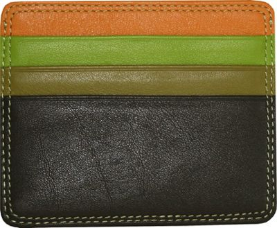 BelArno Leather Flat Card Holder in Multi Color Combinations Brown Combination - BelArno Ladies Small Wallets