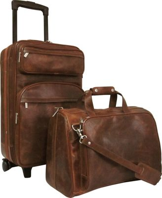 AmeriLeather Leather Two Piece Set Traveler Waxy Brown - AmeriLeather Luggage Sets
