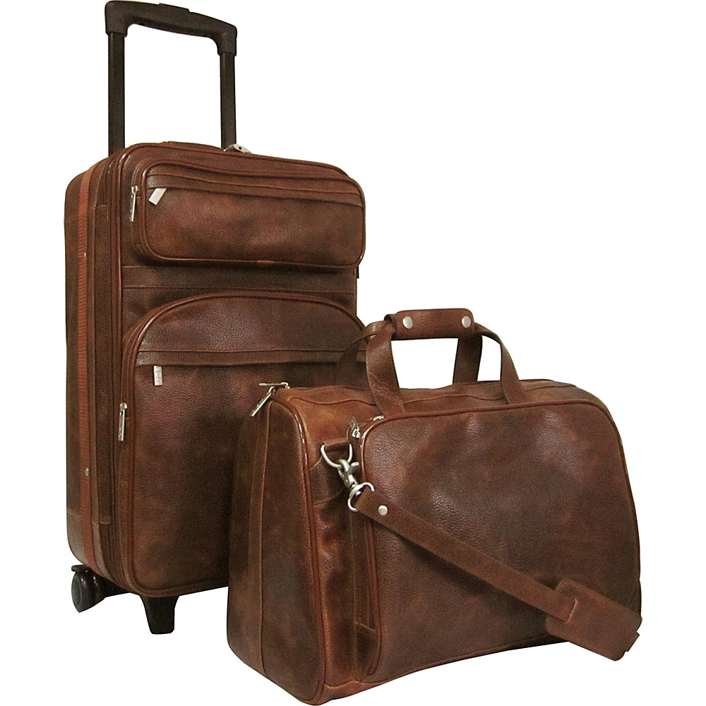 AmeriLeather Leather Two Piece Set Traveler Waxy Brown - AmeriLeather Luggage Sets - Luggage, Luggage Sets