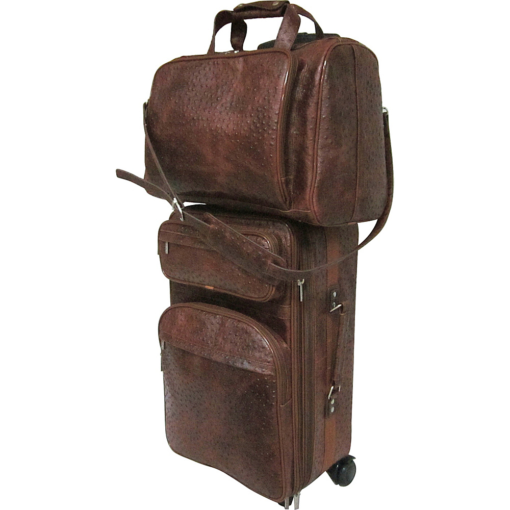 AmeriLeather Leather Two Piece Set Traveler Brown Ostrich Print - AmeriLeather Luggage Sets - Luggage, Luggage Sets