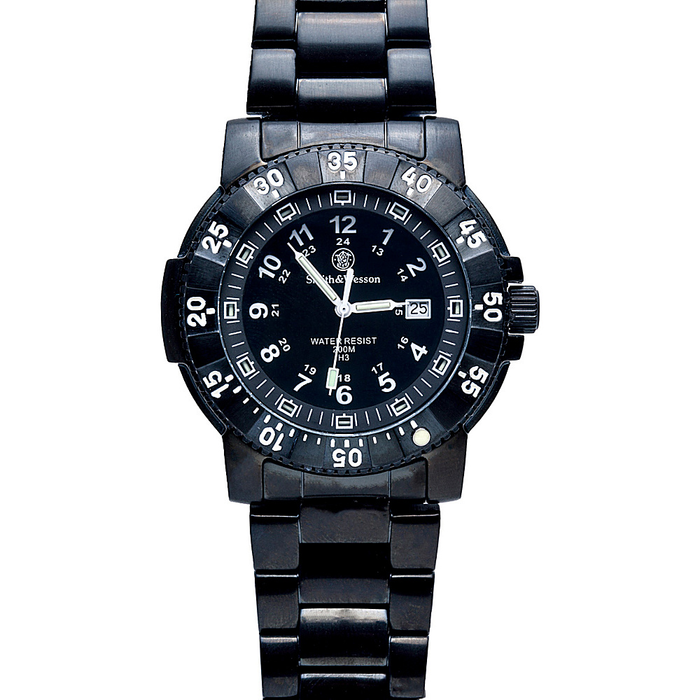 Smith & Wesson Watches Commander Tritium H3 Watch with Stainless Steel Strap Black - Smith & Wesson Watches Watches