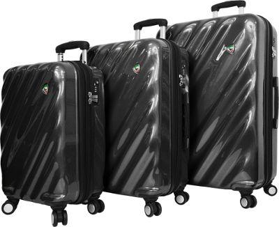 Mia Toro ITALY Onda Fusion Hardside Spinner 3PC Set Black - Mia Toro ITALY Luggage Sets