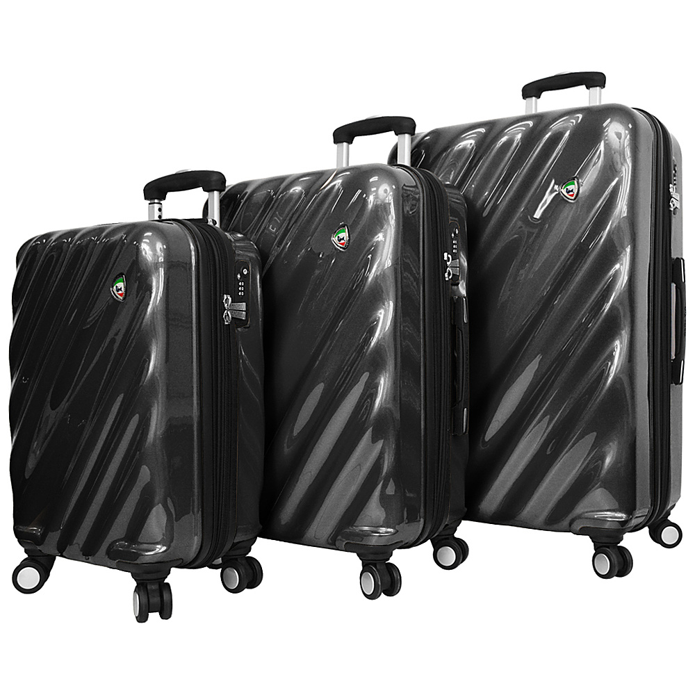 Mia Toro ITALY Onda Fusion Hardside Spinner 3PC Set Black Mia Toro ITALY Luggage Sets
