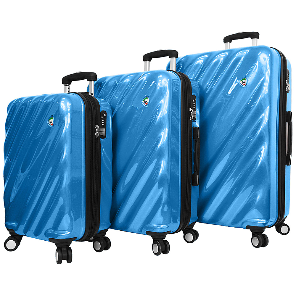 Mia Toro ITALY Onda Fusion Hardside Spinner 3PC Set Blue Mia Toro ITALY Luggage Sets