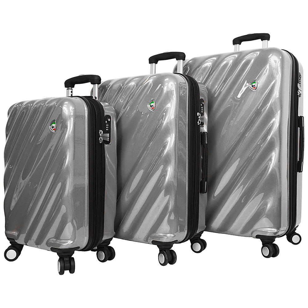 Mia Toro ITALY Onda Fusion Hardside Spinner 3PC Set Grey Mia Toro ITALY Luggage Sets