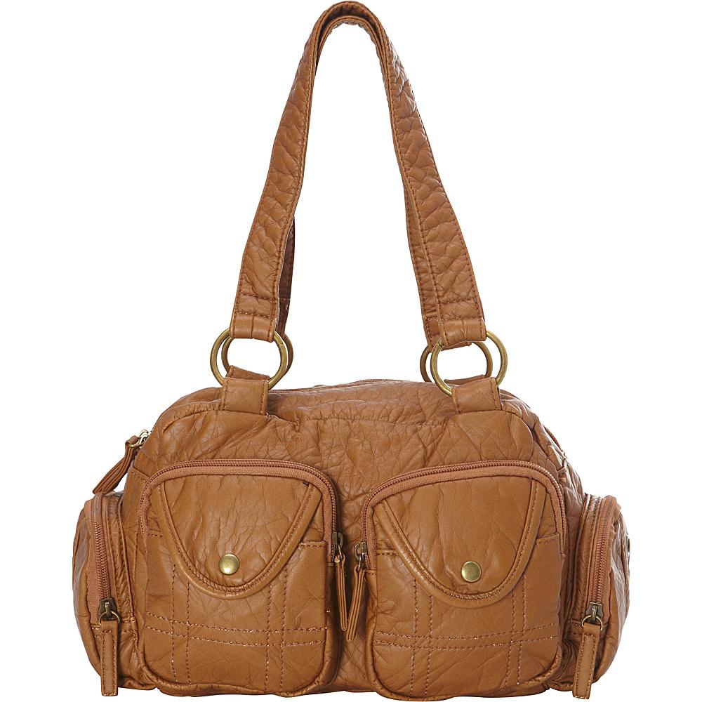 Ampere Creations The Cody Satchel Handbag Brown Ampere Creations Manmade Handbags