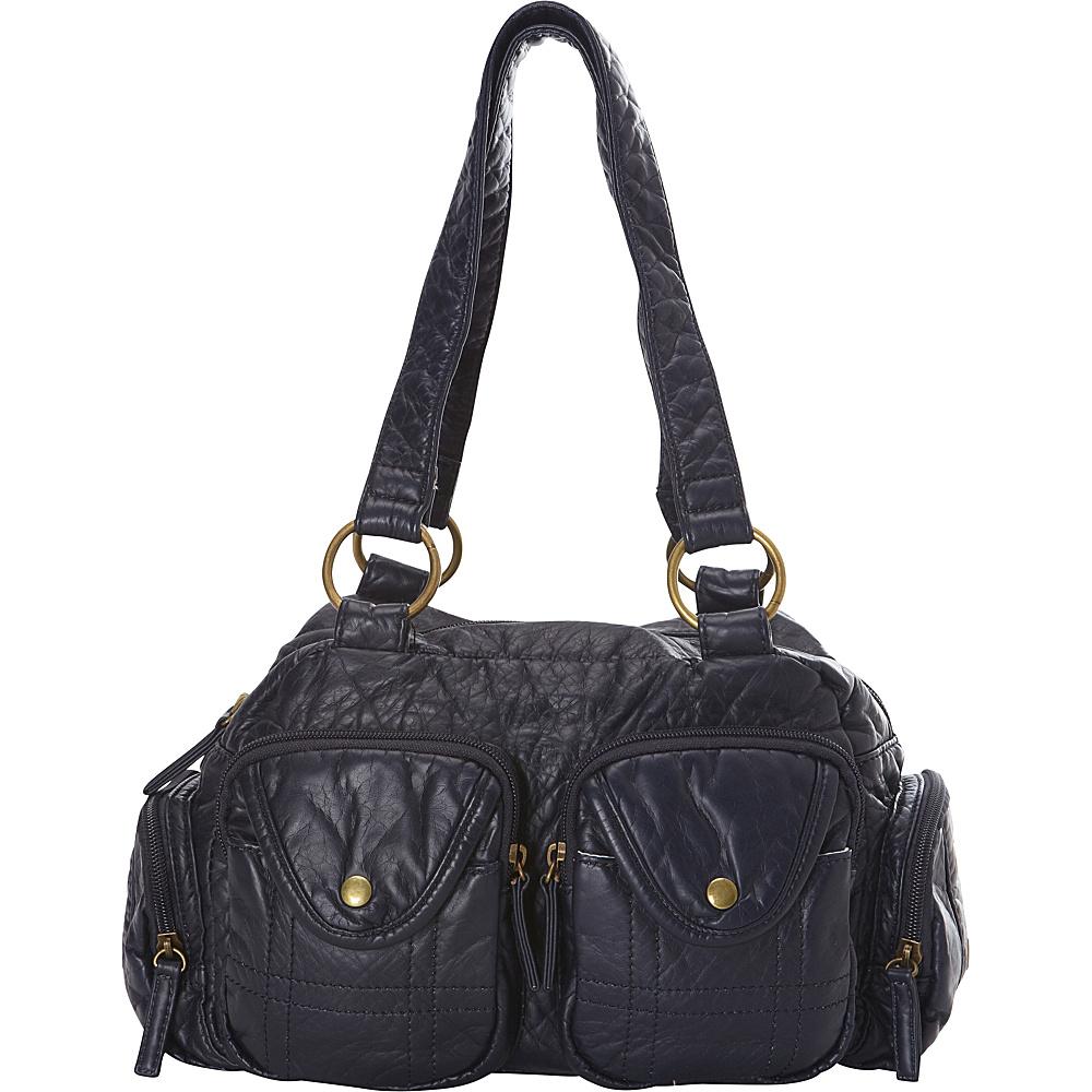 Ampere Creations The Cody Satchel Handbag Dark Blue Ampere Creations Manmade Handbags